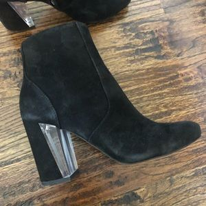 Dolce Vita black suede booties with clear heel 6M